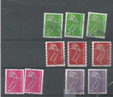 Cagous Différents Millésimes 2016;2018 Et 2019 Cagous Ver Et Rouge 2016 Et2018 Rose Et Violet (pag3c) - Used Stamps