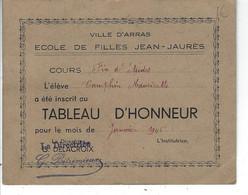 62 - ARRAS - Beau Tableau D'Honneur De L'Ecole De Filles JEAN-JAURES - Camphin Moricette - Diploma's En Schoolrapporten