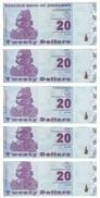 ZIMBABWE 20 DOLLARS 2009 UNC P 95 ( 5 Billets ) - Zimbabwe
