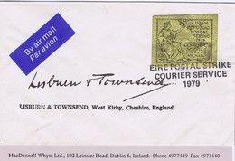 Ireland Airmail Postal Strike 1979 Lisburn & Townsend Cover To Cheshire With Black On Gold VIA AIR MAIL Vignette EIRE PO - Unclassified