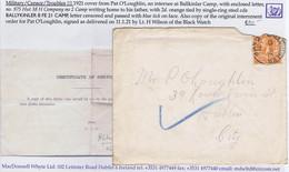 Ireland Military Down 1921 BALLYKINLAR CAMP 8 FE 21 Cds Letter From P O'Loughlin Internee To Dublin - Ohne Zuordnung