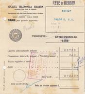 GENOVA - SOCIETA TELEFONICA TIRRENA  - FATTURA DEL 1931-- FORI DA ARCHIVIO. - Italy
