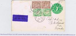 Ireland Airmail 1927 Smye Cover Dublin To Jinja Uganda, Embossed ½d Envelope Dublin 7 MR 27 KENYA-SUDAN AIR MAIL - Luftpost