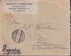 POLAND 1928 Express Cover To WIEN Telegraph Cancel - 1919-1939 Republic