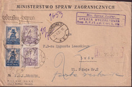 POLAND 1928 Registered Cover Warsaw To LWOW - 1919-1939 Republic