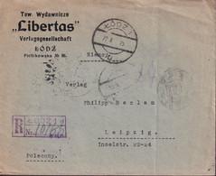 POLAND 1925 Registered Cover Lodz To Leipzig Railway Cancel (Berlin-Breslau) - 1919-1939 Republic
