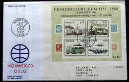 Norway 1980  NORVEX 80   MiNr.817-20   BLOCK 3   FDC     (lot 2020 ) - FDC