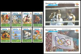 ** Sierra  Leone - 1990 - Olympic Games 1992 - Mi. 1509-16, Bl. 137-8 - Summer 1992: Barcelona