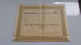 AUTOMOBILES ET CYCLES HURTU (FONDATEUR)1899 - Non Classificati