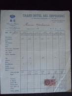 1933 Grand Hôtel Des Empereurs Nice Facture - Sports & Tourism