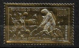 Tchad Poste Aérienne  N° 64 Apollo XI Homme Sur La  Lune   Sur Feuille D'or  Neuf * * TB= MNH VF Soldé ! ! ! - Astrology