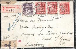 LETTRE RECOMMANDEE CENSUREE 1942 - POSTEE A COPENHAGUE -  CACHET POSTAL ARRIVEE TRIEL SUR SEINE - - 1913-47 (Christian X)