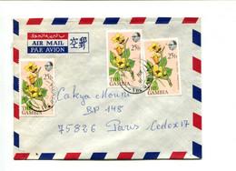 GAMBIE 1981  - Affranchissement Multiple Sur Lettre Par Avion - Fleurs - Gambia (1965-...)