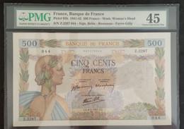 TAc20 - France 500 Francs Banknote 6.2.1941 PMG 45 Choice Extremly Fine #Z.2287 044 - Large Size - 500 F 1940-1944 ''La Paix''