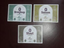 3 Belgische Bieretiketten Gebrouwen Hofbrouwerijke Belgie - Bière