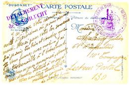 VOSGES CP OFFERTE AUX SOLDATS PAR DUBONNET 1915 GERARDMER + CH.DE FER DE CAMPAGNE 10° Sect + DETACHEMENT De La SCHLUCHT - Marcofilie (Brieven)