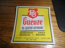 1 Oude Belgische Bieretiketten Belgie De Coster Heymans Brussel - Bière