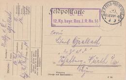Feldpostkarte Obl K.D.FELD-POSTEXPED 39. RESERVE DIV Du 3.3.(15) + Cachet 12. Kp Bayr. Res. J.R. No 14 Avec Joli Dessin - 1. Weltkrieg 1914-1918
