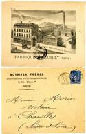 SEINE ENV ILLUSTREE 1881 SAGE T18 LYON RHONE + VERSO GALONS POUR VOITURES & WAGONS FABRIQUE A NEUILLY SEINE - Marcofilie (Brieven)