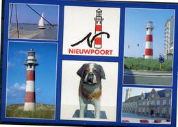 Nieuwpoort Groeten Uit ..   - Ed AVM - 6 Foto's Op Gelopen Kaart - Dog Chien Hond - Ligth House - Phare - Vuurtoren - Nieuwpoort