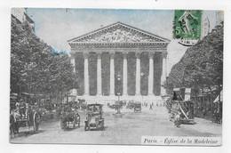 (RECTO / VERSO) PARIS EN 1913 - EGLISE DE LA MADELEINE AVEC VIEILLES VOITURES - BEAU CACHET - CPA COULEUR - Eglises