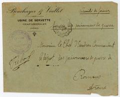 OUVRIER PRISONNIER USINE SERVETTE ISERE ENV ENTETE USINE 1916 CAMP DE  PRISONNIERS DE GUERRE CHAPAREILLAN CONV CHAPAREIL - Postmark Collection (Covers)