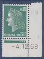 Marianne De Cheffer 30c Vert Typographié N°1611 Avec Coin Daté 4.12.69 Neuf - 1967-70 Marianne Of Cheffer