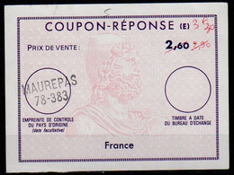 FRANCE Reply Coupon Reponse (E) Type Ex12 Antwortschein IAS 3,30 / 2,90 / 2,60 Issued MAUREPAS 78-383 - Coupons-réponse