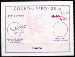 FRANCE Reply Coupon Reponse (E) Ex12 Antwortschein 3,60 / 3,50 / 3,20 o BLAGNAC 31-069 - Coupons-réponse