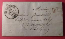 Lettre 24 Fév 1845  St Etienne à Monistrol  - TAD Type13 - TAD Arrivée  Type 14 - Port Payé - 1801-1848: Precursores XIX