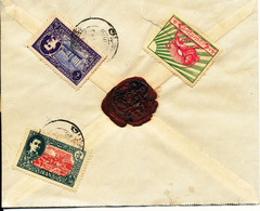 Iran Old Cover With All Stamps And A Wax Seal On The Backside Of The Cover - Iran