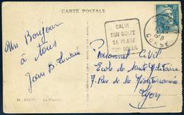 Daguin Calvi Son Golfe Sa Plage Son Soleil Corse 1950 810 Gandon Seul Tarif 8F Pour Lyon CP La Citadelle - Mechanische Stempels (varia)