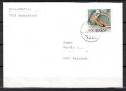 BRD; MiNr. 1595, Sporthilfe: Olympische Spiele, Ski Alpin, Auf Portoger. Brief Von Duderstadt Nach Saerbeck; B-1526 - [7] Federal Republic