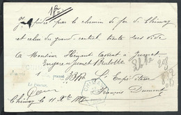 Bordereau D'envoi Hexagone Bleu CHIMAY/1888  Pour Jumet - Railway