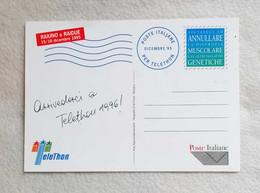 Cartolina Postale Telethon Dicembre 1995 Con Firme Presentatori Al Retro - 6. 1946-.. Repubblica