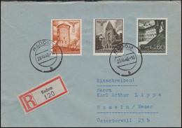 41+44+49 Bauwerke 8+20+60 Gr. MiF R-Brief RODOM 29.10.40 Nach HAMELN 31.10.40 - Besetzungen 1938-45