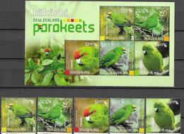 NEW ZEALAND, 2020, MNH, BIRDS, PARROTS, PARAKEETS, 5v+SHEETLET , HIGH FV - Papegaaien, Parkieten