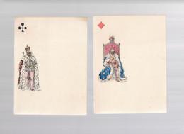 5 Menus Sur Le Thème Du Jeu De Cartes, 3 Rois + 2 Valets. Signé GILBERT. 11,5x16 Cm Tb état - Menú