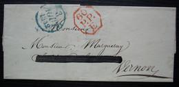 1832 Cachet Rouge Octogonal De Port Payé 60/ PP/ E + Dateur Bleu, Sur Lettre Pour Vernon - 1801-1848: Precursori XIX