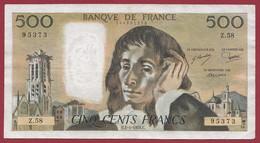 """500 Francs """"Pascal"""" Du 01/04/1976.C----ALPH.Z.58---DANS L ETAT - 500 F 1968-1993 ''Pascal''"""
