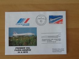 Premier Vol Concorde  Paris-Genève  Paris 31-8-1976. - Erst- U. Sonderflugbriefe