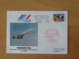 Premier Vol Concorde  Genève-Casablanca  Paris 31-8-1976. - Erst- U. Sonderflugbriefe