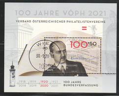 """Österreich 2020: Block """"100 Jahre Bundesverfassung V.Hans Kelsen"""""""" Gestempelt (s. Foto) - 2011-... Ungebraucht"""