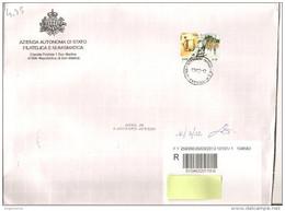 SAN MARINO - 2012 Lettera Raccomandata Con Francobollo Singolo 2010 Mark Twain 4.95 Euro - Annullo Dogana - Briefe U. Dokumente