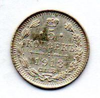 RUSSIA, 5 Kopeks, Silver, Year 1913-CΠB-BC , KM #Y19a.1 - Rusland