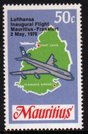 Mauritius 1970 Single 50c Stamp From The Set  To Celebrate The Inauguration Of Lufthansa Flight. - Mauritius (1968-...)