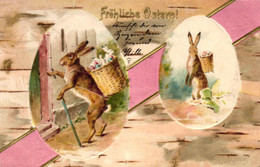 Ostern, Hasen, Korb Mit Eiern, Prägekarte, 1904 In Köln Versandt - Pasen