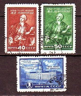USSR 1949. M. Lomonosov. 3 Stamps. Mi. Nr.1311-13. - 1923-1991 URSS