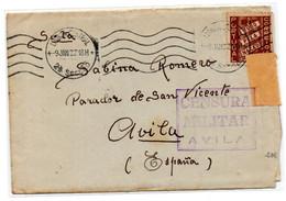 Carta Con Matasellos De Censura Militar De Avila  Procendente De Portugal. - 1931-50 Lettres