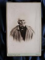 Photo Cabinet Emile Tiger à Paris - Beau Portrait D'un Vieillard En Blouse (aveugle ?) Circa 1890 L521A - Alte (vor 1900)